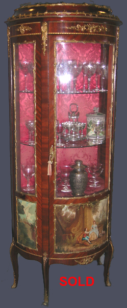 Antique Louis XV Vitrine In Mahogany & Ormolu