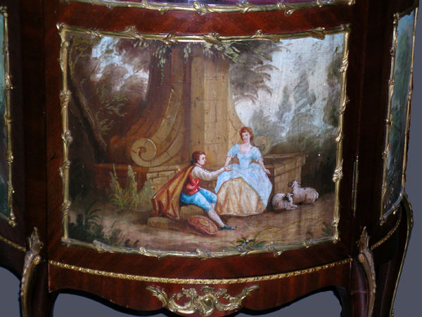 Tall, fine, Louis XV style, vitrine, in mahogany and ormolu with three 18th  century style, painted scenes. This unusual antique French style curio  cabinet ... - Antique Louis XV Vitrine In Mahogany & Ormolu