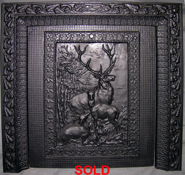 Iron Fireplace Cover.  Late Victorian Cast Iron Fireplace Insert Summer Cover