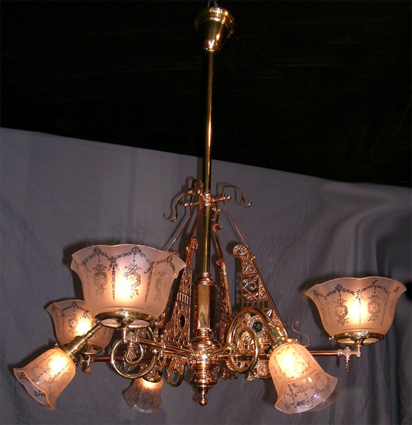 Red Aesthetic Chandelier: EASTLAKE/AESTHETIC MOVEMENT EIGHT ARM CHANDELIER